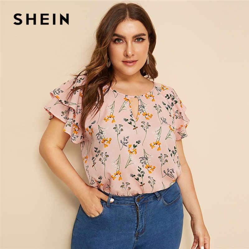 SHEIN Plus Größe Halsband Neck Layered Rüschen Hülse Botanische Top Bluse 2019 Frauen Casual Sommer Floral Print Cut Heraus Blusen