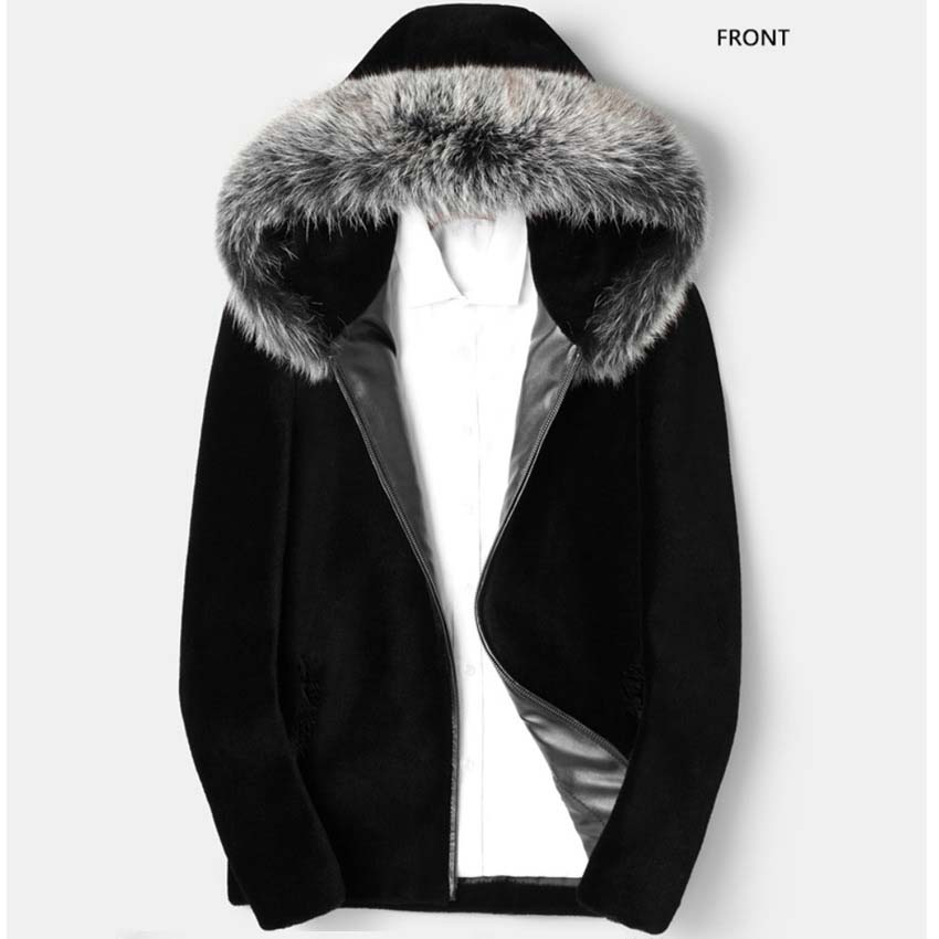 Hooded Fauxe Fur Jackets For Mens Winter And Autumn Thick Leather Patchwork Faux Fur Outwears Oversized Male Jackets S/6XL D381