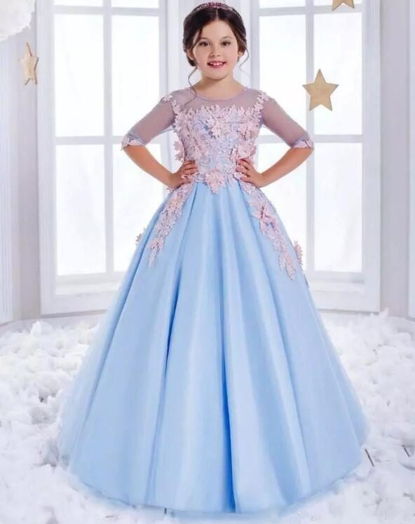 Здесь продается  Cute Sky Blue Girls A Line Pageant Gown Crew Neck Beaded Crystals Applique Corset Back Tulle Princess Flower Girl Dresses  Детские товары