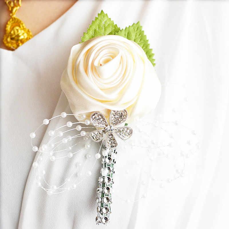 2018真新しい最高の男新郎ブートニアサテンローズ男性かがり結婚式パーティーウエディング男スーツコサージュピV2080