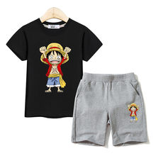 Jongen Zomer Outfits Luffy Tees + Katoen Shorts 2Pc Sets Kids Cartoon Kostuums Een Stuk Koning Kleding Baby Jongens suits
