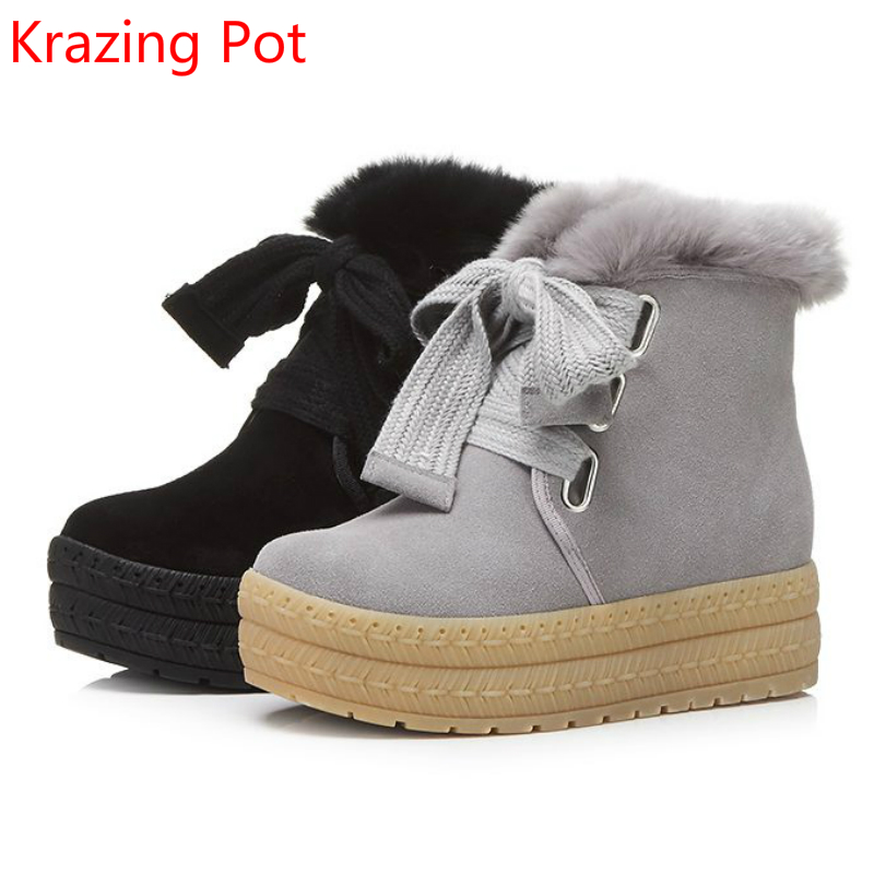 2018 Cow Suede Rabbit Fur Platform Flat with Round Toe Fashion Winter Boots Leisure Bowtie Keep Warm Ankle Boots for Women L65 big size 34 43 winter russian women keep warm shoes 100% cow suede fur shoes flat with round toe solid ankle lady snow boots