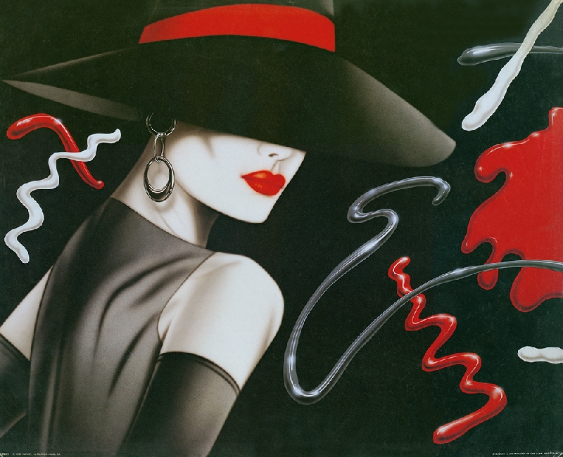 Canvas Picture cool modern fashion sexy and elegant lady prints art lady  with hot red lips in a big hat free shipping 952f498eb60