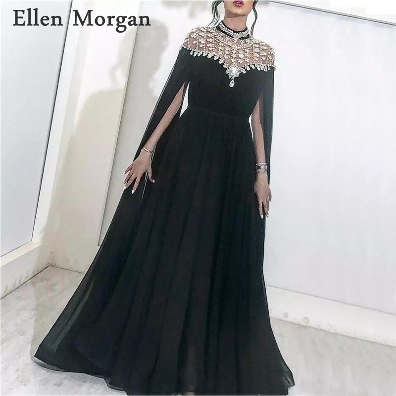 Arabic Black Chiffon   Evening     Dresses   Party Elegant for Women Dubai Caftan Zipper High Neck Crystal Saudi Arabia Formal Gown 2019