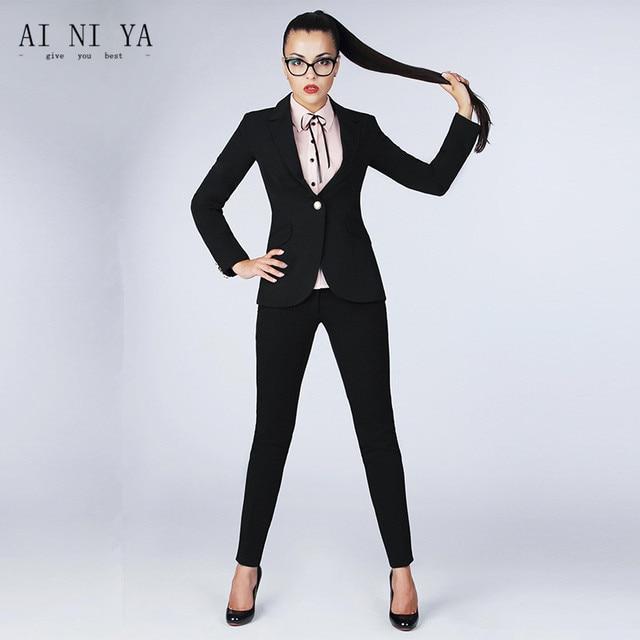 f019c9f8061 Custom Black Women Business Suits Office Uniform Styles Ladies Elegant Pant  Suits Female Forma Work Wear 2 Piece Set Blazers
