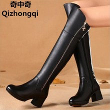 women boots women s 2017 genuine leather boots Genuine leather knee boots winter boots fashion Martin