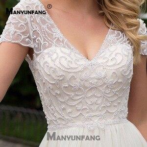 Image 4 - Cap Sleeves 2019 Scoop Lace Applique A Line Simple Wedding Dresses Tulle Boho Bridal Gown vestido de noiva Long Train trouwkleed