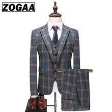 Fashion Plaid Designs Lapel Men Suit Tailor Made Groom Tuxedos Wedding 3 Piece Suits Best Man Blazer (Jacket+Pants+Vest) Custom(China)
