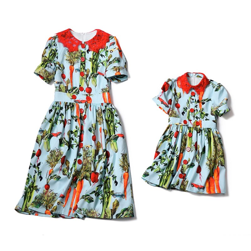 Mama Love Bebe Mother Daughter Dresses Vintage Bohemian Style Doll Collar Mom and Baby Daughter Dress Wedding Family Clothes mom love daughter forever with 100