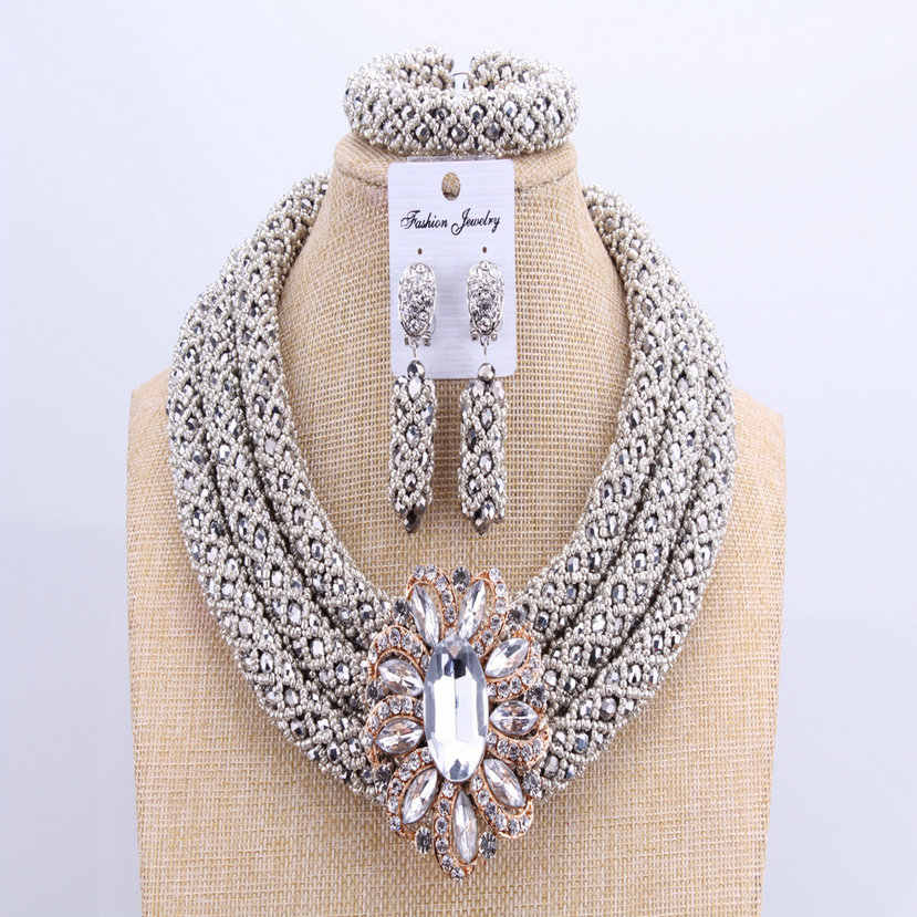 3 Layers African jewelry sets Wedding Silver Crystal Beads Jewelry Sets Elegant Nigerian Wedding Necklace Jewelry Set Brand New