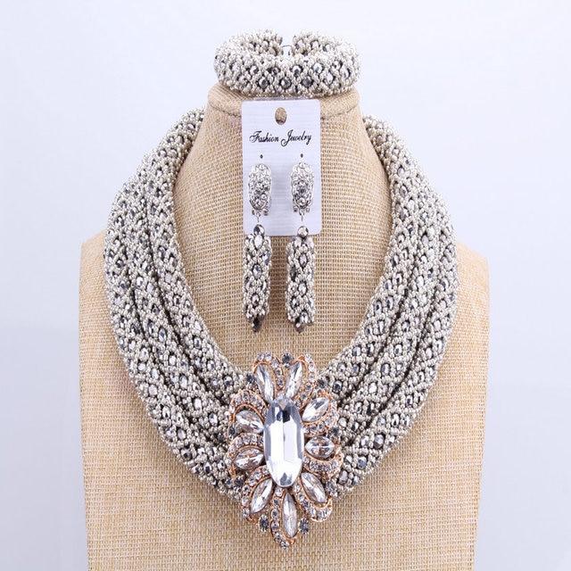 3 Layers African jewelry sets Wedding Silver Crystal Beads Jewelry Sets Elegant Nigerian Wedding Necklace Jewelry Set Brand New