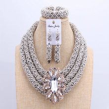 3 camadas conjuntos de jóias africano casamento prata contas de cristal conjuntos de jóias elegante nigeriano colar de casamento conjunto de jóias nova marca