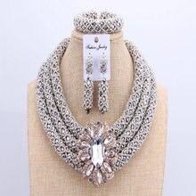 Conjunto de joyería africana de 3 capas para boda, cuentas de cristal de plata para juegos elegantes de joyería, collar de boda joyería nigeriana
