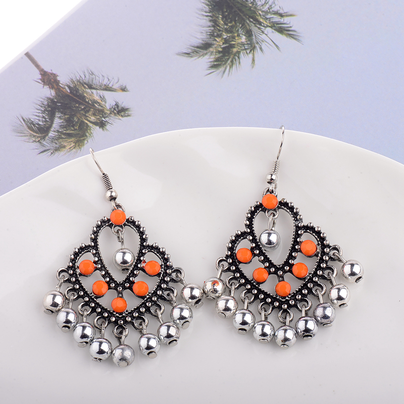 DOUVEI New Jewelry Women Boho Style Silver Pld Orange Bead Tassel Dangle Earring Heart Shape Fashion Earrings HQE026-1