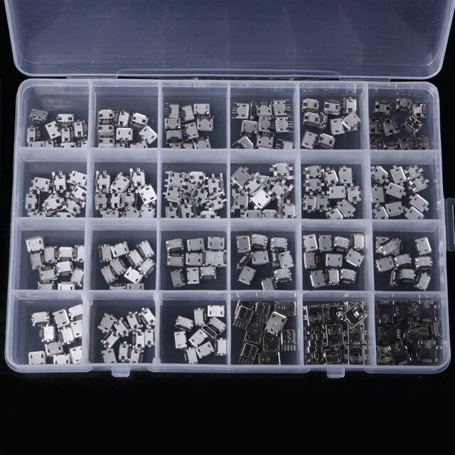 OOTDTY 240 piezas 24 modelos Micro conector USB Jack para MP3/4/5/Lenovo ZTE Huawei