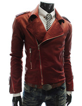 2019 Spring Fashion Mens Leather Jackets, Motorcycle Lapels Slim Casual Jackets Black Tops