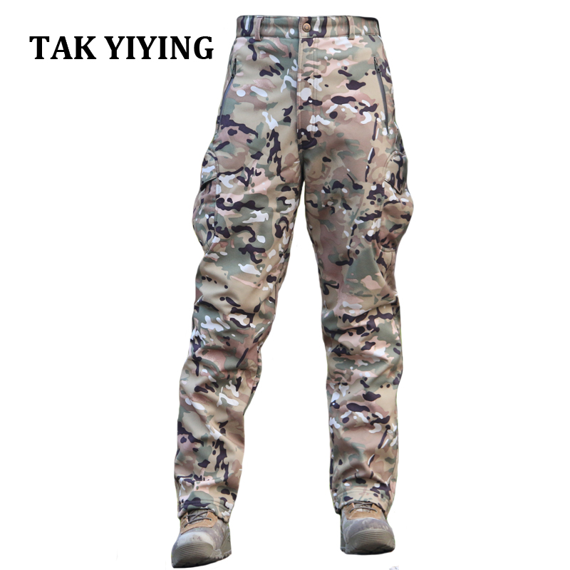 TAK YIYING Winter Shark Skin Soft Shell Tactical Military Camouflage Pants Men Windproof Waterproof Warm Camo Fleece Pants lurker shark skin soft shell v4 military tactical jacket men waterproof windproof warm coat camouflage hooded camo army clothing