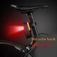 DEROACE Bicycle Lock Bike Taillight Cable Lock Alloy Steel B Grade Anti theft Lock Usb Charging Bicycle Accessories Taillight
