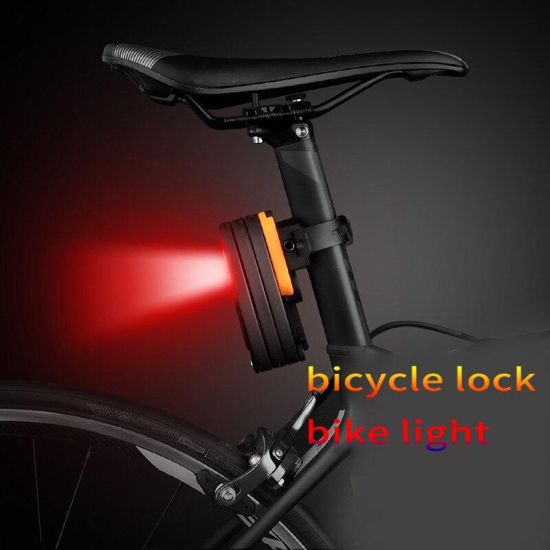 DEROACE Vélo Serrure Vélo Feu Arrière Câble D'acier à Alliage de Verrouillage B Grade Anti-vol Serrure Usb De Charge Accessoires Vélo Feu Arrière