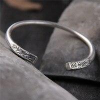Bohemia Vintage Handmade Bangle For Lady S925 pure silver pattern solid hand bracelets Thai silver bracelet for women