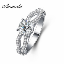 AINOUSHI Luxury 1 Carat Round Cut 4 Prongs Rings 925 Sterling Silver Women Wedding Engagement Rings Anniversary Jewelry Gifts