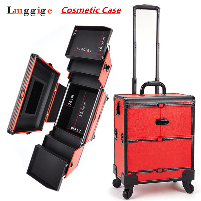 Makeup Artist Toolbox With Rolling Cabin Cosmetic Bags Wheel Trolley Nails Make Up Case New Beauty Box Travel Luggage Suitcase