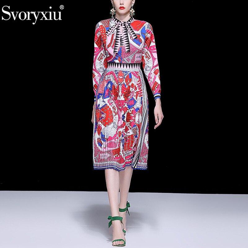 Svoryxiu Fashion Runway Autumn Pleated Dress Women s Elegant Bow Collar Geometric Print Long Sleeve Midi