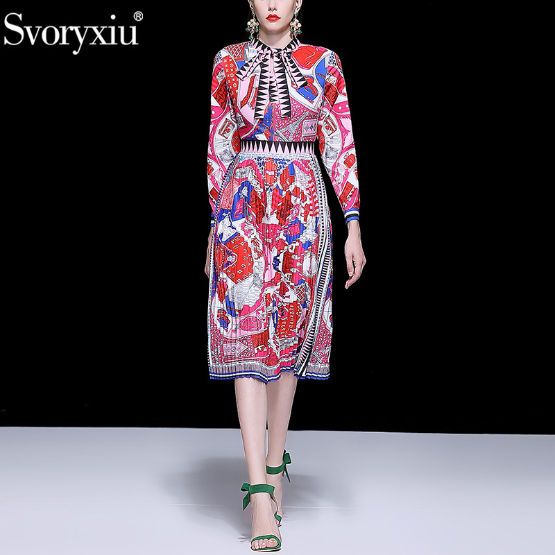 Kadın Giyim'ten Elbiseler'de Svoryxiu Moda Pist Sonbahar Pilili Elbise kadın Zarif Yay Yaka Geometrik Baskı Uzun Kollu Midi Elbiseler Vestdios'da  Grup 1