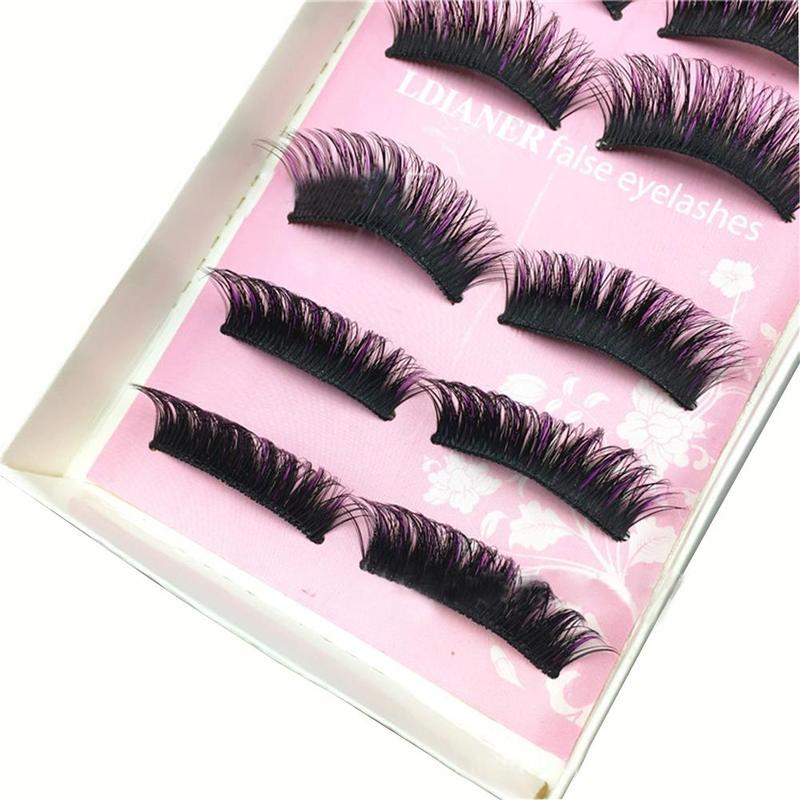 5pair Black+purple Hard Stem False Eyelash Set Women Individual Eyelashes Makeup Densely ...