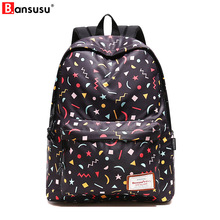 Fresh Style Women Backpacks Floral Geometric pattern print Bookbags black Canvas Backpack School Bag For Female Travel Backpack 2018 fashion personality colorful unicorn print casual backpack female drawstring style canvas travel backpack girl backpacks