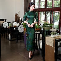 High Quality 100 Silk Chinese Women Dress Sexy Long Sheath Cheongsam Qipao Elegant Print Flowers Dresses