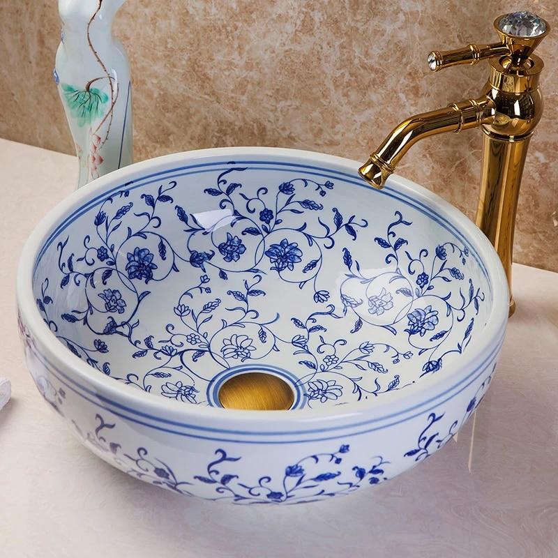 jingdezhen hand paint craft blue and white ceramic bathroom wash basin sinks