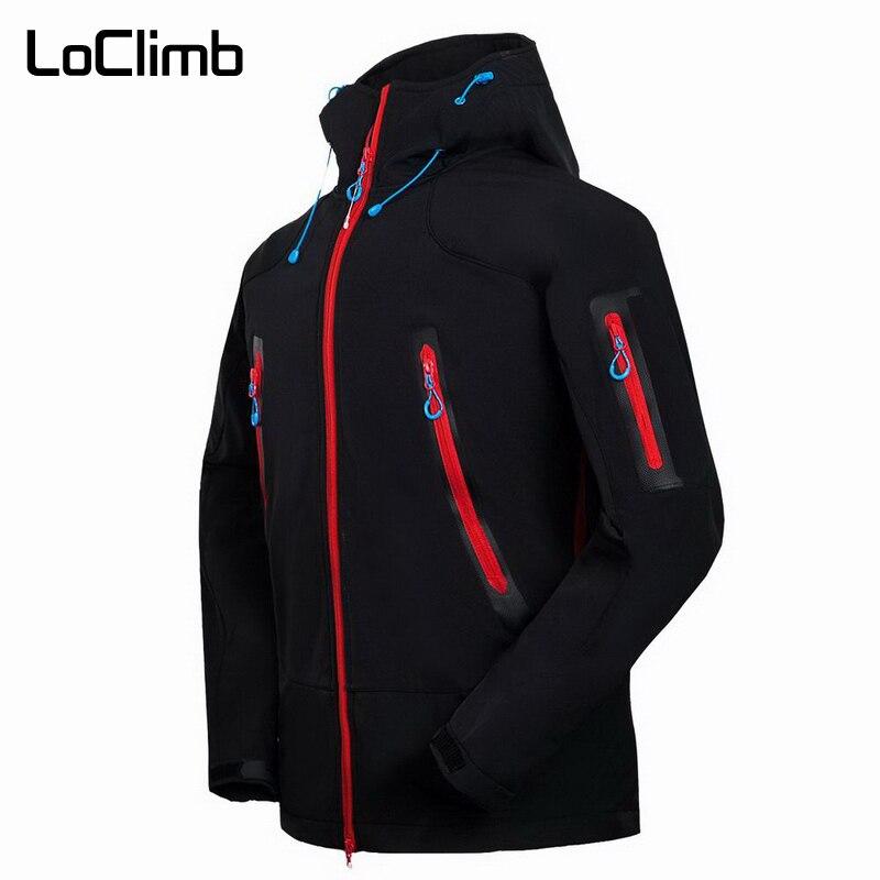 LoClimb Orange Men s Hiking Jacket Men Waterproof Outdoor Sport Softshell Outerwear For Spring Trekking Climbing