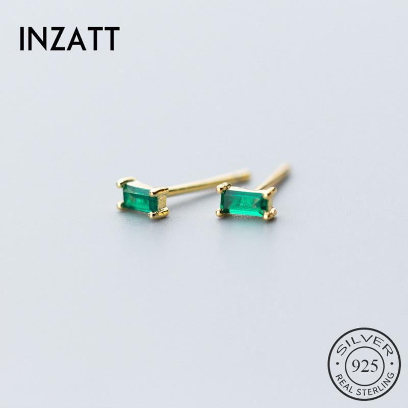 INZATT Minimalist Stud Earrings For Women party Geometric Square Green Zircon Gold Color 925 Sterling Silver Fine Jewelry