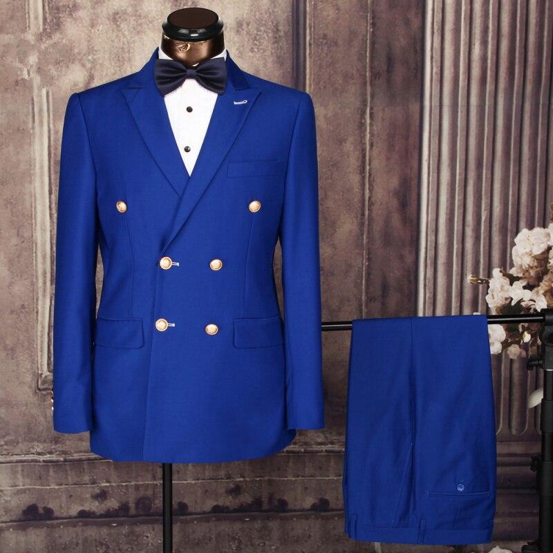 veste Blue Dîner Pantalon Blazer Breasted 2017 noir Mariage Masculino Terno navy Bleu Made Royal De Smokings Hommes Costumes Blue Marié Double Bal Custom xHw7H6ZqAg
