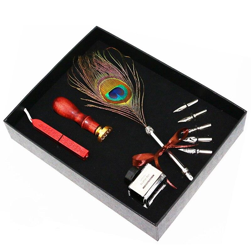 Vintage plume plume plume calligraphie stylo étanchéité cire ensemble écriture encre Dip stylo avec étanchéité cire ensemble pour cadeau