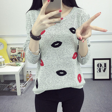 O Neck Lip print Long Sleeve sweater NA01