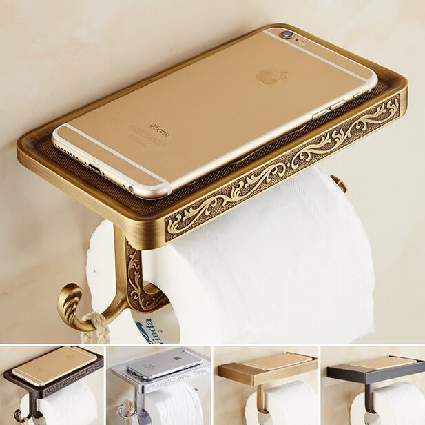 2017 Luxury Bathroom Toilet Paper Holder Wall Mount Bath Antique Brass Finish Roll Paper Tissure Rack tissue box luxury antique brass paper rack bathroom paper holder european toilet paper box toilet accessories wall mounted