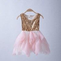 Dziewczyny Tiulu Koronki Cekinowe Sukienki Dzieci Dziewczyna Lato Księżniczka Łuk Sukienka Baby Girl Party tutu Sukienka 2016 Dzieci Hurtownia Odzieży