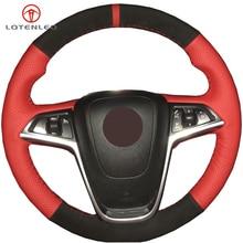 LQTENLEO черный замшевый красный кожаный чехол на руль для Buick Excelle XT GT 2010- Opel Mokka 2013- Insignia Astra J