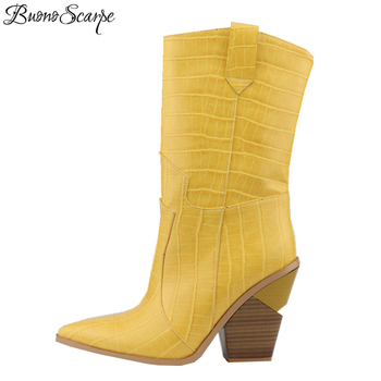Buono Scarpe Embrossed Microfiber Runway Shoes Cowboy Mid-calf Boots Pointed Toe Western Boots For Women Wedges Chunky Heels