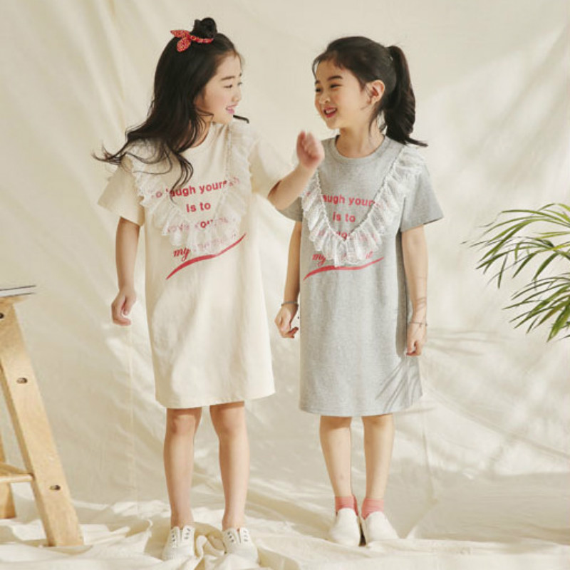 <font><b>Girl</b></font> Summer <font><b>Dress</b></font> 2020 New Cotton Kids <font><b>Dresses</b></font> for <font><b>Girls</b></font> Lace Patchwork Leisure Children <font><b>T</b></font>-<font><b>shirt</b></font> <font><b>Dress</b></font> Baby Princess <font><b>Dress</b></font>,#5066 image