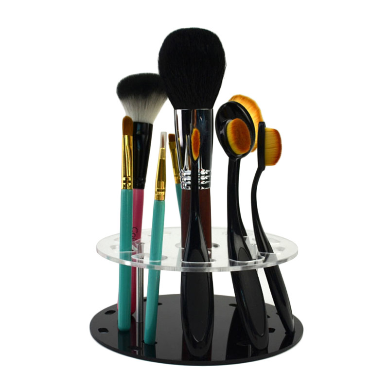 Acrylic Oval Makeup Brush Holder Stand Display Drying Brush Cosmetic Shelf Rack Toothbrush Makeup Brush Display Tools allen roth brinkley handsome oil rubbed bronze metal toothbrush holder