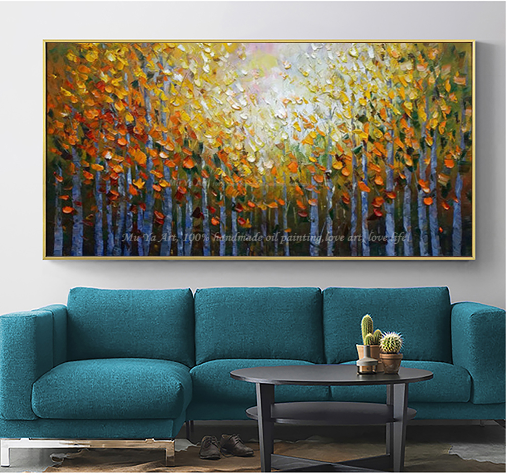 US $57.96 16% OFF|Malerei landschaft Acryl moderne gemälde für wohnzimmer  wand bilder baum malerei abstrakte ölgemälde auf leinwand handmade-in ...