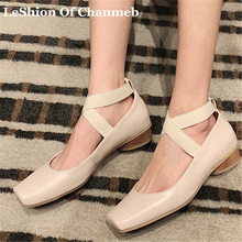 2019 bigger size 43 sheep leather cross strap ballet flats for women
