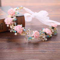 Gorgerous Artificial Pearl Flowers Bride Headband Summer Crystal Wedding Hair Jewelry Trendy Women Headdress Accessories