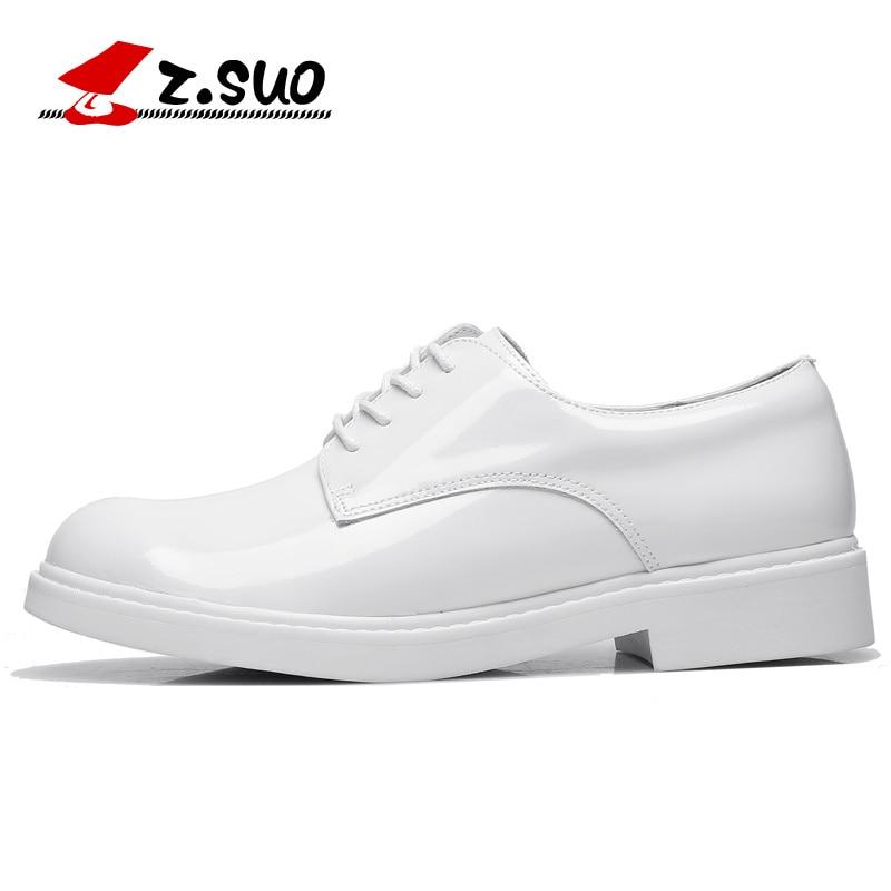 Mujer Planos Genuino Mujeres Fathion De blanco Para Negro Suo Ocio Cuero Z Charol Blanco otoño Zapatos Los Oxfords Vaca La Primavera q7ta0B