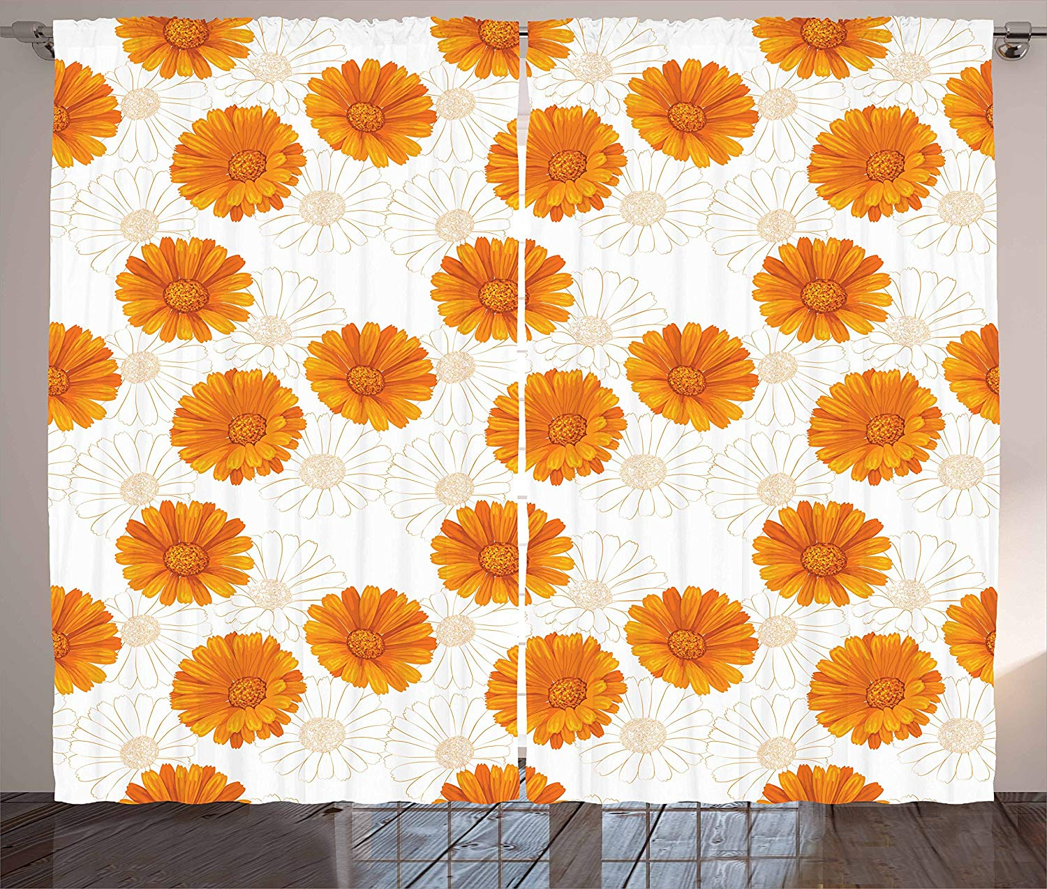 Burnt Orange Curtains Blooming Calendula Flowers Watercolor Botany Themed Composition Living Room Bedroom Window Decor
