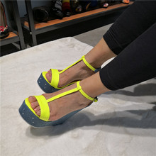 T-bar Wedges Woman Sandals Open Toe Platform Female+Shoes Cut Out Ankle Buckle Hot Day Stable Lady Club Party Casual Shoes цена 2017
