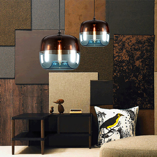 Modern Nordic colorful hanging Glass Pendant Lamp Fixtures E27 LED pendant Lights for Kitchen Restaurant living room bedroom